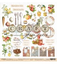 Бумага для скрапбукинга односторонняя коллекция Любимые рецепты, 30.5х30.5 см, 190 гр/м, лист Кухня