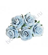 Розочки средние 2.5 см, 5 шт, цвет голубой