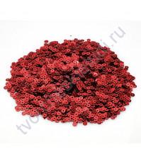 Мини пайетки круглые с эффектом металлик 3 мм, 10 гр, цвет красный
