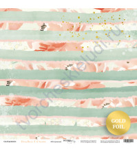 Бумага для скрапбукинга с золотым тиснением, коллекция Peaches and Cream, 30.5х30.5 см, 190 гр\м2, лист Абстракция