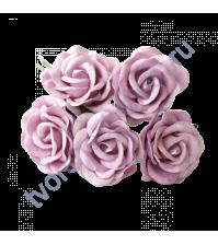 Роза с закругленными лепестками диам. 4 см, 3 штуки, цвет светло-сиреневый