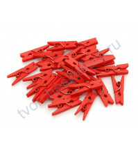 Прищепка деревянная 25 мм, 1 штука, цвет красный