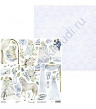 Бумага для скрапбукинга двусторонняя, 30.5х30.5 см, плотность 250 гр/м2, Элементы для вырезания Winter wedding
