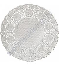 Салфетка бумажная ажурная 100 мм, 1шт, цвет белый