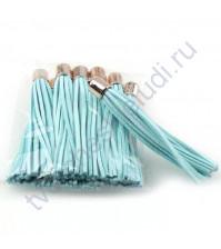 Декоративная кисточка из искусственной замши, длина кисточки 8 см, 1 шт, цвет голубой с золотом