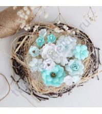 Цветы ручной работы из ткани, 14 шт, цвет мятно- белый микс