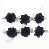 Шифоновые цветы, диаметр 6 см, 1 шт, цвет чёрный