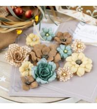 Цветы ручной работы из ткани и замши Бархатная осень, 12 шт, цвет осенний пруд