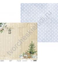Бумага для скрапбукинга двусторонняя, 30.5х30.5 см, плотность 250 гр/м2, коллекция Snowy Flowers, Лист 5
