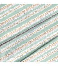 Ткань для рукоделия Полоска мятная, 100% хлопок, плотность 150 гр/м2, размер отреза 50х40 см