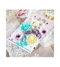 Цветы ручной работы из ткани, 24 шт, цвет яркий микс