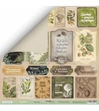 Бумага для скрапбукинга двусторонняя 30.5х30.5 см, 200 гр/м, коллекция Cozy Forest, лист Карточки