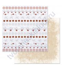 Бумага для скрапбукинга двусторонняя коллекция Снежная клюква, 30.5х30.5 см, 180 гр/м, лист Бордюры