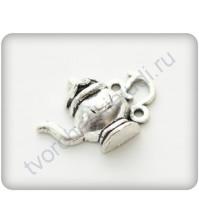 Подвеска металлическая Чайничек, 15х21мм, цвет серебро
