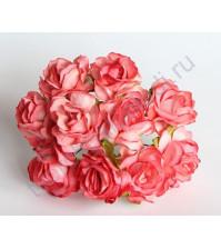 Кудрявые розы 2 см, 5 шт, цвет коралловый