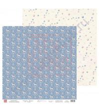 Бумага для скрапбукинга, 30.5х30.5 см, плотность 190 гр/м2, коллекция Потешки, лист Лошадки