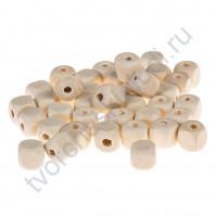 Бусины деревянные кубики, без покрытия, 10x10 мм, 1 штука