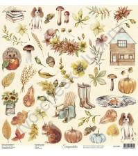 Бумага для скрапбукинга двусторонняя, 30.5х30.5 см, плотность 250 гр/м2, коллекция Lovely autumn, Лист Элементы