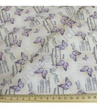 Ткань для рукоделия 100% хлопок, плотность 120г/м2, размер 48х50см (+/- 2см), коллекция Винтажные бабочки, цвет 1