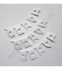 Набор вырубки из акварельной бумаги Гирлянда из флажков, 3 шт