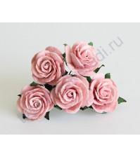 Розочки средние 2.5 см, 5 шт, цвет розовоперсиковый