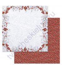 Бумага для скрапбукинга двусторонняя коллекция Снежная клюква, 30.5х30.5 см, 180 гр/м, лист Ягодная рамка