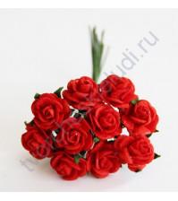 Мини-розочки  1.5 см, 10 шт, цвет красный