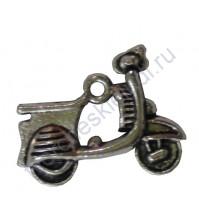 Подвеска металлическая Мопед, 17х18 мм, цвет серебро