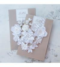 Цветы ручной работы из ткани Базовый микс, белый