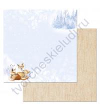 Бумага для скрапбукинга двусторонняя коллекция Снежная клюква, 30.5х30.5 см, 180 гр/м, лист Поймай снежинку