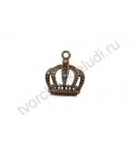 Подвеска металлическая Корона, цвет бронза