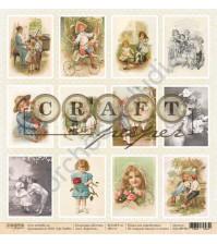 Бумага для скрапбукинга односторонняя коллекция Детство, 30.5х30.5 см, 190 гр/м, лист Карточки
