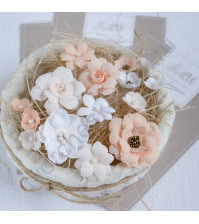 Цветы ручной работы из ткани, 14 шт, цвет персиково - белый микс