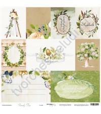Бумага для скрапбукинга двусторонняя, коллекция Family Tree, 30.5х30.5 см, 190 гр\м2, лист Карточки (RU)
