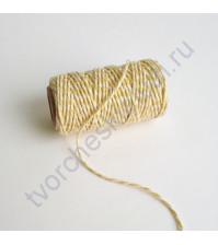 Шнур декоративный Spots and Stripes Pastels, цвет белый-бледно-жёлтый, 1 метр