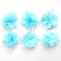 Шифоновые цветы, диаметр 6 см, 1 шт, цвет голубой