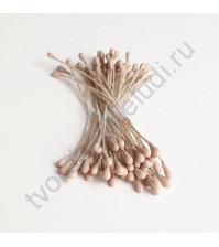 Тычинки матовые двусторонние 60х1.5 мм, 50 шт, цвет бежево-серый