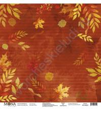 Бумага для скрапбукинга односторонняя Осень, 30.5х30.5 см, 190 гр/м, лист Листопад