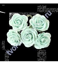 Розы с закругленными лепестками диам. 4 см, 5 шт, цвет мятный