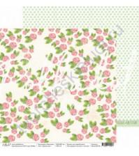 Бумага для скрапбукинга двусторонняя 30.5х30.5 см, 190 гр/м, коллекция Цветение, лист Аромат роз