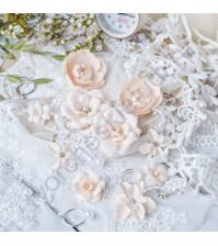 Цветы ручной работы из ткани Diamond, 10 шт, цвет персиковый