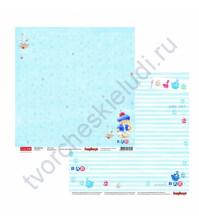 Бумага для скрапбукинга двусторонняя, коллекция ЗайкаМи Малыши, 30.5х30.5 см 190 гр/м, лист По морям, по волнам