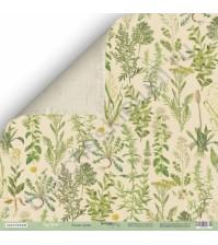 Бумага для скрапбукинга двусторонняя 30.5х30.5 см, 200 гр/м, коллекция Cozy Forest, лист Лесные травы