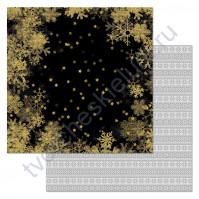 Бумага для скрапбукинга двусторонняя коллекция Фономикс.Сканди, 30.5х30.5 см, 180 гр/м, лист Ночное небо