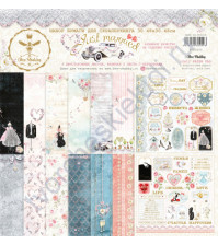 Набор двусторонней бумаги для скрапбукинга Just Married , 30.48х30.48 см, 190 гр/м, в наборе 8 двусторонних листов + лист бонус (оборот обложки)