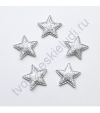 Тканевая апликация с глиттером Звезда, размер 2.6х2.6 см, 1 шт, цвет серебро