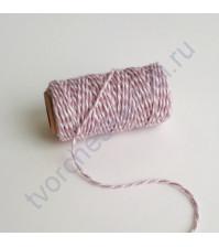 Шнур декоративный Spots and Stripes Pastels, цвет белый-пыльно-розовый, 1 метр