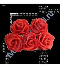 Розы с закругленными лепестками диам. 4 см, 5 шт, цвет красный