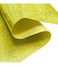 Термотрансферная пленка глиттер, цвет желтое золото, 25х25 см (+/- 2 см)