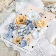 Цветы ручной работы из ткани, 15 шт, цвет морской микс